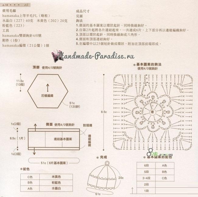 Схема вязания квадратного мотива с цветком
