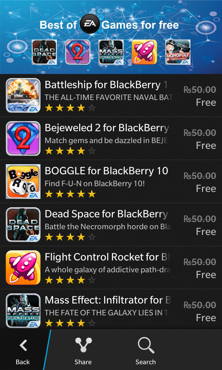 free ea games on bb10