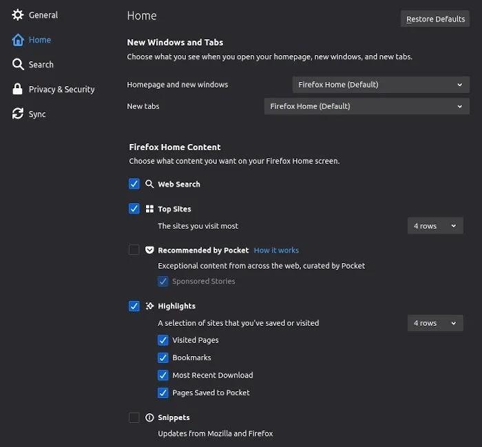 أفضل إضافات الخصوصية لـ Firefox Options الصفحة الرئيسية