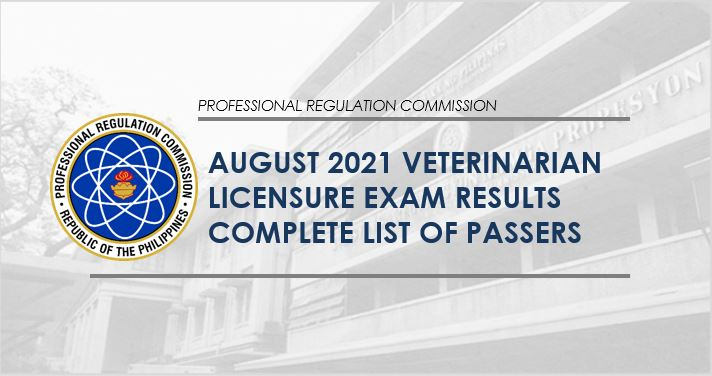 RESULT: August 2021 Veterinarian board exam list of passers