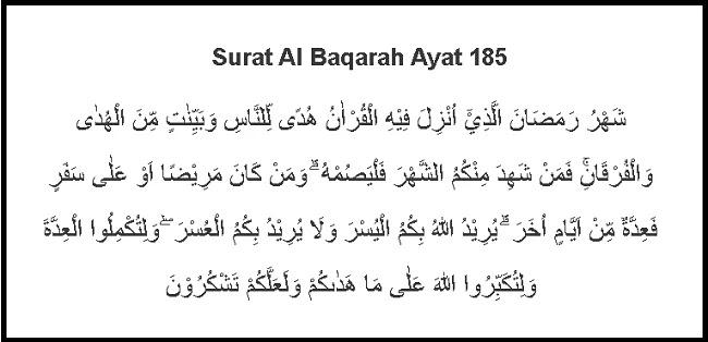 Surat Al Baqarah Ayat 185 Lengkap Latin Dan Tafsir