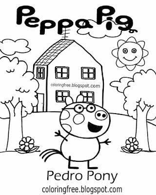 Kindergarten cartoon plans Pedro Pony Peppa pig printable images straightforward coloring pictures