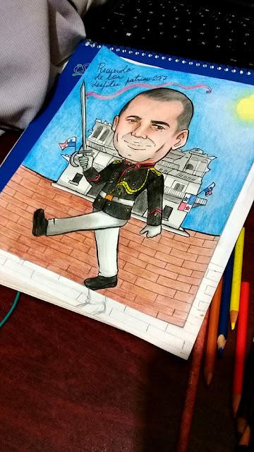 caricatura en lápices de colores