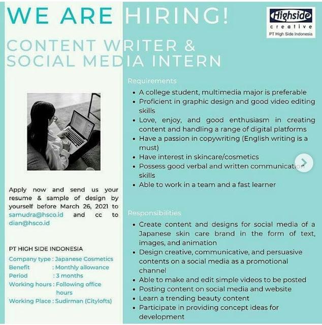 Lowongan Kerja Sebagai CONTENT WRITER & SOCIAL MEDIA INTERN PT HIGH SIDE INDONESIA