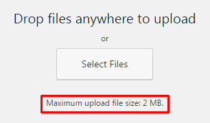 Maximum upload files size: 2 MB