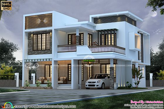 5 BHK flat roof home front view design