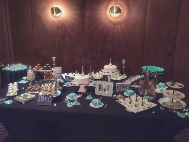 Parisian Breakfast at Tiffany's Bridal Shower Decoration - dessert table