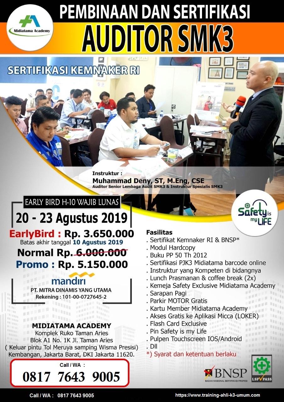 Auditor SMK3 kemnaker tgl. 20-23 Agustus 2019 di Jakarta