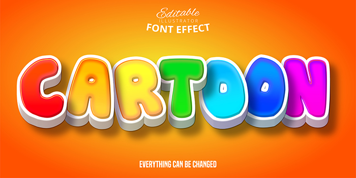 3D Text Effect Rainbow Letters Cartoon Bubble