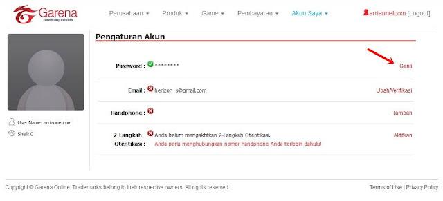 Cara Terbaru Ganti Password Akun Pb Garena Tanpa Verifkasi Arrian Net