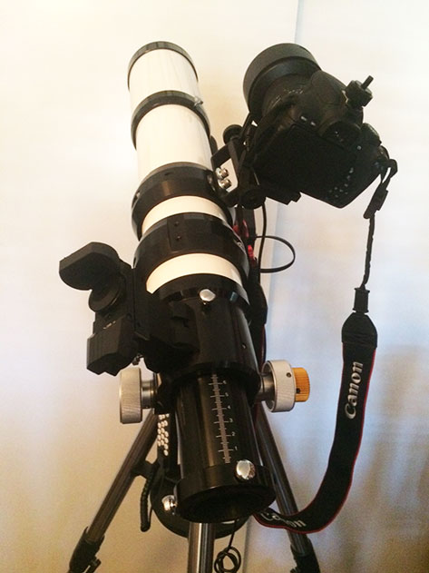 Added piggyback adapter for tracking wide-angle, long exposure images (Source: Palmia Observatory)