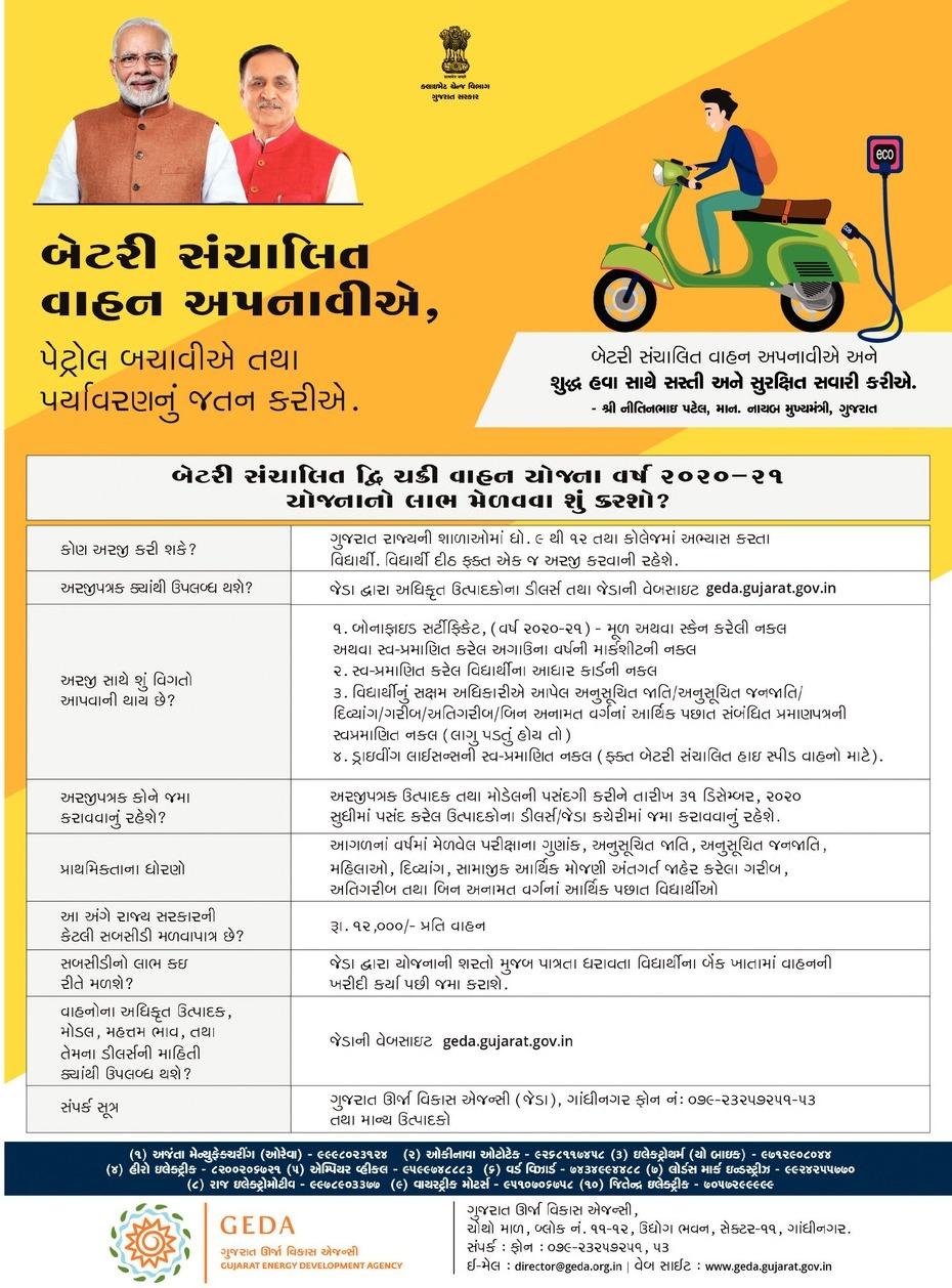 Gujarat Government Scheme Electric Two Wheeler And e-rickshaw Purchase Assistance Download Form And Details