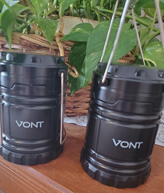 2 Vont LED Camping Lanterns on a Table