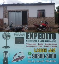 EXPEDITO DOS VENTILADORES. RUA 15 CASA 09 VILA DA PAZ BACABAL (99)98800-3000