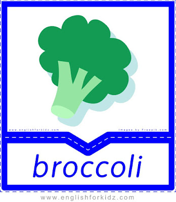 Broccoli - English flashcards for the fruits and vegetables topic