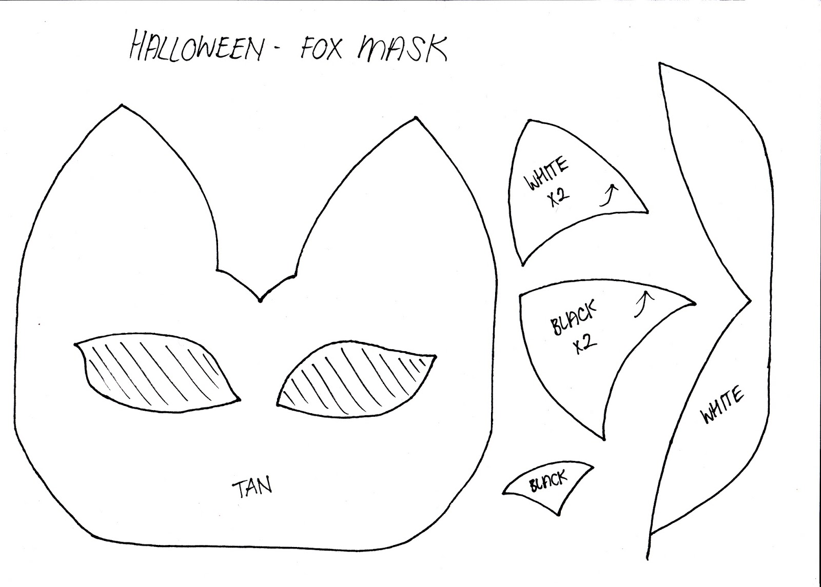 template of a fox - stylenovice diy fox mask template