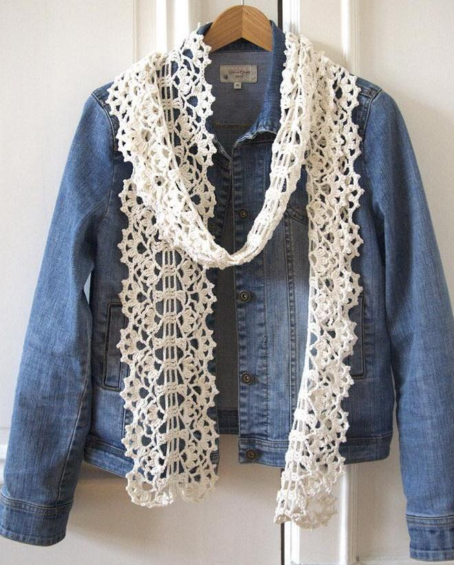 Easy crochet scarf - Crochet Pattern is available - White lace scarf no:14