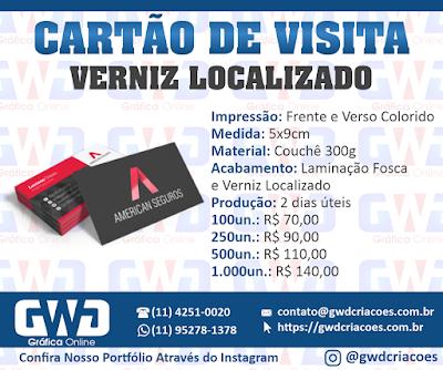 Cartão de visita com Verniz localizado