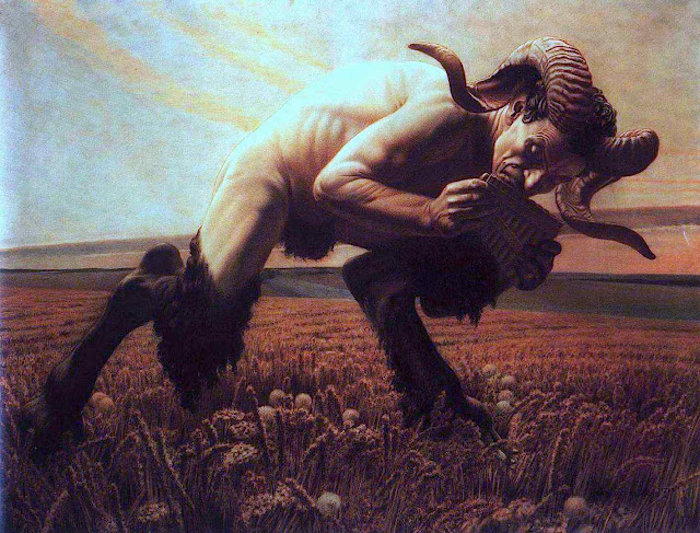a Carlos Schwabe painting of a Satyr with Pan flute in a field