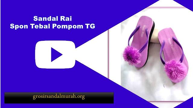 grosirsandalmurah.org - Sandal Wedges Anak - Rai Spon Tebal Pompom TG
