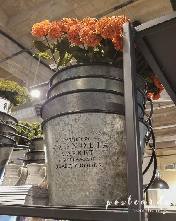 galvanized metal buckets at Magnolia Market