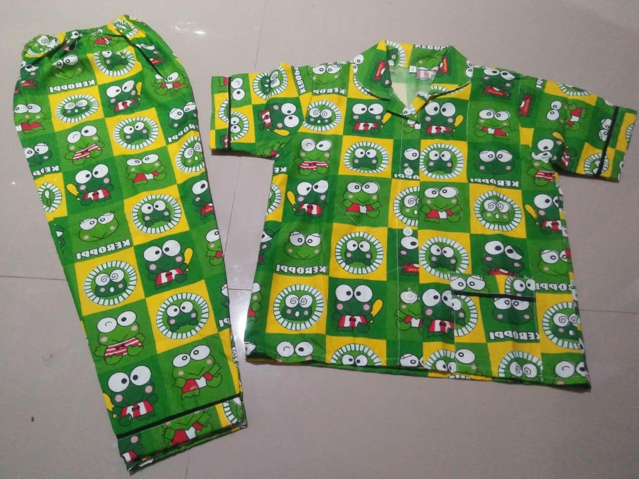 Baju Tidur Anak Umur 5-6 Tahun Gambar Kerropy Hijau