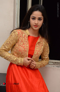 Telugu Actress Divya Nandini Stills in Orange Sleeveless Gown at Chennai Chaitrama Movie le Launch Event  0113.JPG