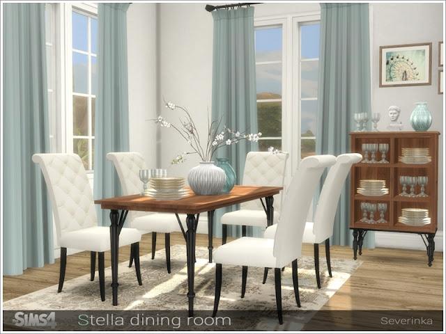 Stella diningroom Столовая Стелла для The Sims 4 Набор мебели для декорирования столовой в классическом стиле. Текстуры дерева HD В набор входят 12 предметов: - обеденный стол короткий (2х1) - обеденный стол длинный (3х1) - низкий шкаф - высокий шкаф - занавес - бокалы - блюда - ваза - ваза с ветвями - картины (2 варианта) Автор: Severinka