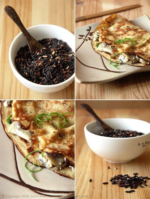 naleśniki z dzikiego brązowego ryżu z tofu i pieczarkami