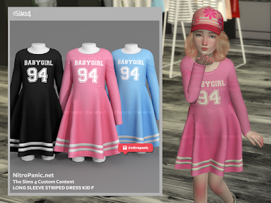 Long Sleeve Striped Dress KID F for The Sims 4