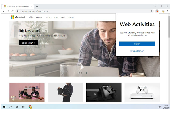 Microsoft launches Web Activities extension for Google Chrome browser