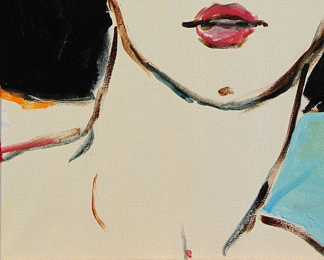 painting, art, sarah, myers, fashion, face, hat, eyes, detail, close-up, arte, pintura, style, design, modern, contemporary, acrylic, black, red, blue, hat, glance, expression, woman, lady, figurative, canvas, close-up, detail, mouth, neck
