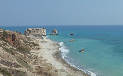 Happy snap of Petra tou Romiou, Aphrodite Birthplace, Paphos, Cyprus