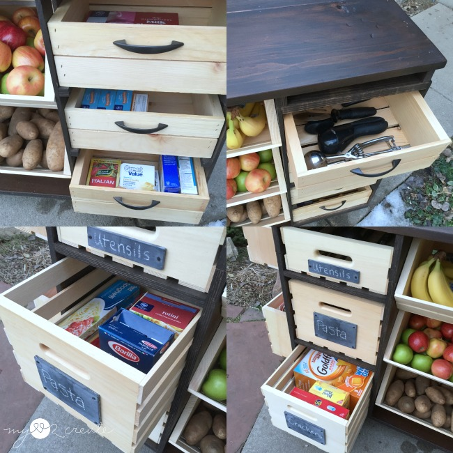 kitchen island packed with pantry storage