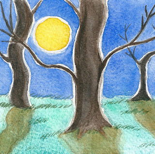 Trees in moonlight watercolor painting