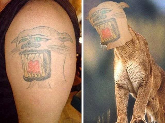 Ele deu essa imagem para o tatuador, só que não ficou como ele queria