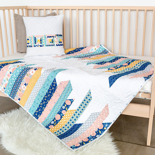 Azure Skies Baby Quilt Free Pattern designed by Elizabeth of Simple Simon & Company