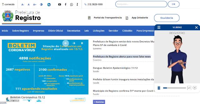 Site da Prefeitura de Registro-SP ganha mais acessibilidade