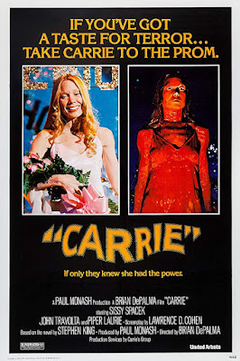 Carrie 1976 movie poster, starring Sissy Spacek, John Travolta, Piper Laurie, Amy Irving, and Nancy Allen