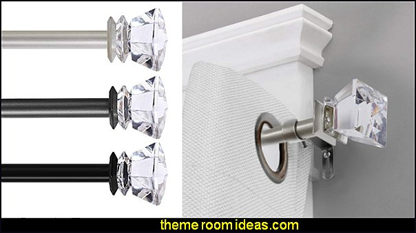 crystal Curtain Rods luxe glam bedroom window decorations luxe blam bedrooms