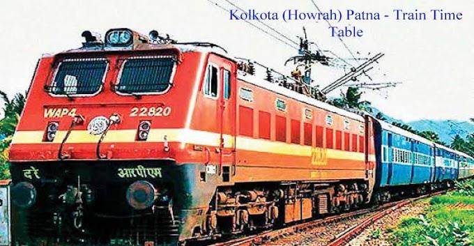 Kolkota (Howrah) Patna  - Train Time Table - Indian Railways