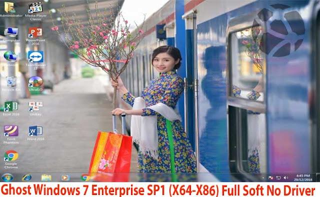 Ghost Windows 7 Enterprise SP1 (X64-X86) Full Soft No Driver - Chúc Mừng Năm Mới 2019