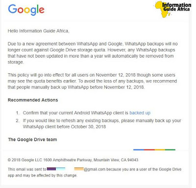 Email from Google, how to back-up WhatsApp data