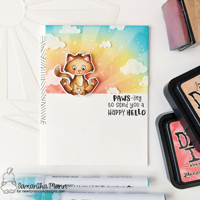 Kitten Hello card by Samantha Mann | Smitten Kittens Stamp set, Sunscape Stencil, and Cloudy Sky Stencil by Newton's Nook Designs