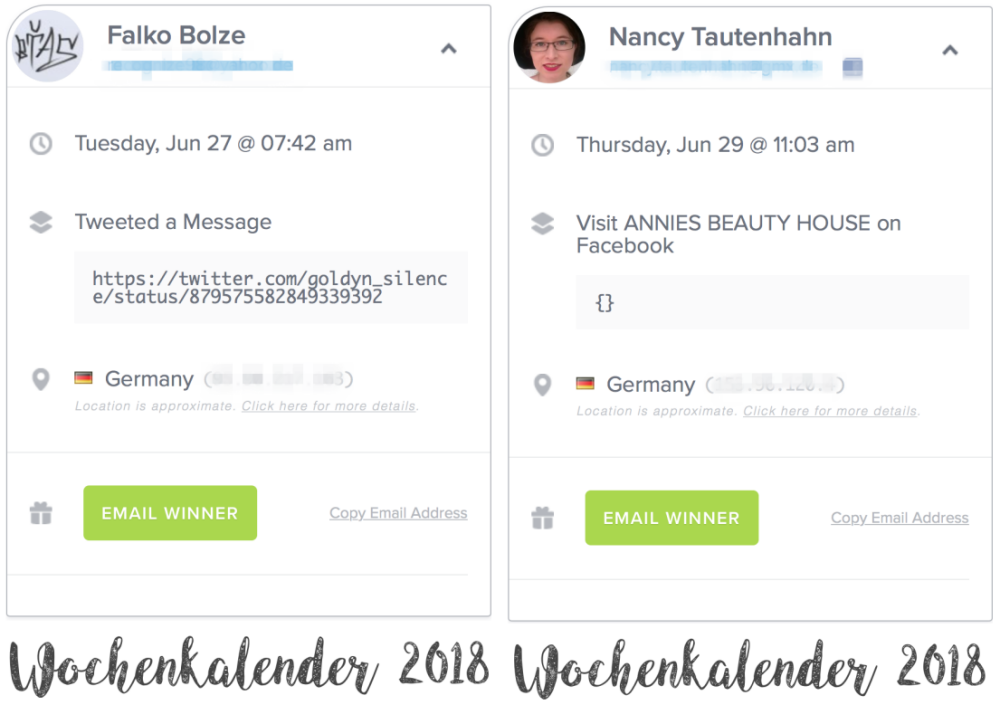 Gewinner Bekanntgabe: Gewinner Wochenkalender 2018