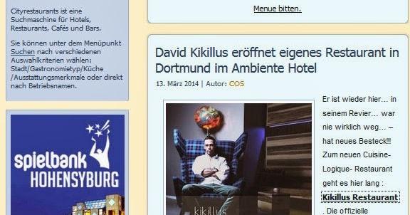 genussbereit topfgucker spezial david kikillus er ffnet restaurant im dortmunder ambiente hotel. Black Bedroom Furniture Sets. Home Design Ideas