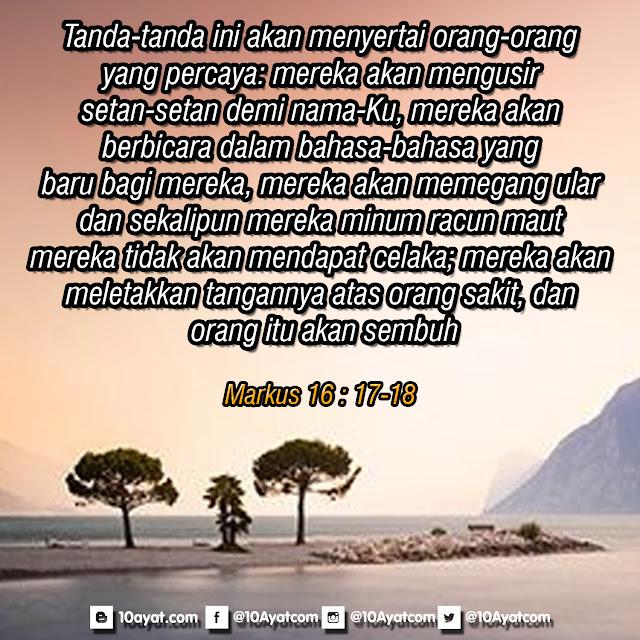Markus 16 : 17-18