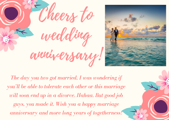 Anniversary greetings to couple