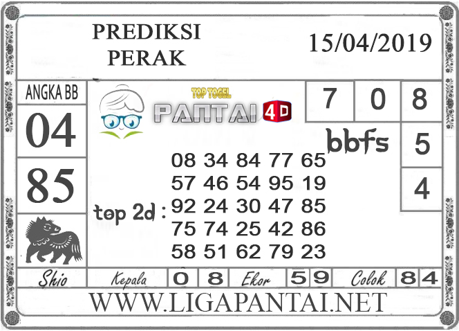 """Prediksi Togel """"PERAK"""" PANTAI4D 15 APRIL 2019"""