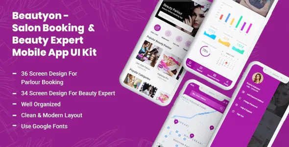 Best Beauty Parlour Booking & Beauty Expert Mobile App UI Kit